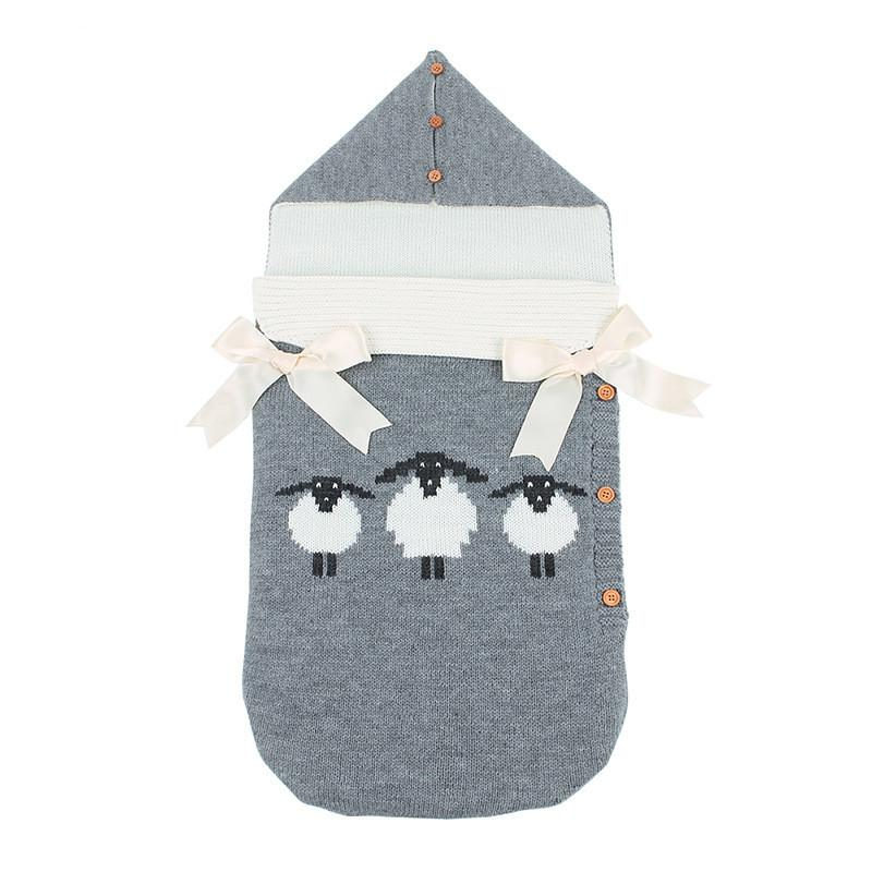 Baby Cartoon knitted Sleeping Bag Winter Warm Sleepsacks Robe for Infant Wheelchair Envelopes for Newborns ins Stroller Sleeping Bag