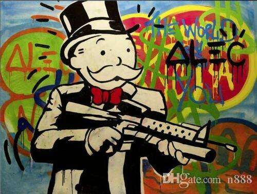 Alec Monopoly Gun Man Amazing Urban Art Wall Decor Wall Art Home Decor Oil Painting On Canvas Large Picture 190923