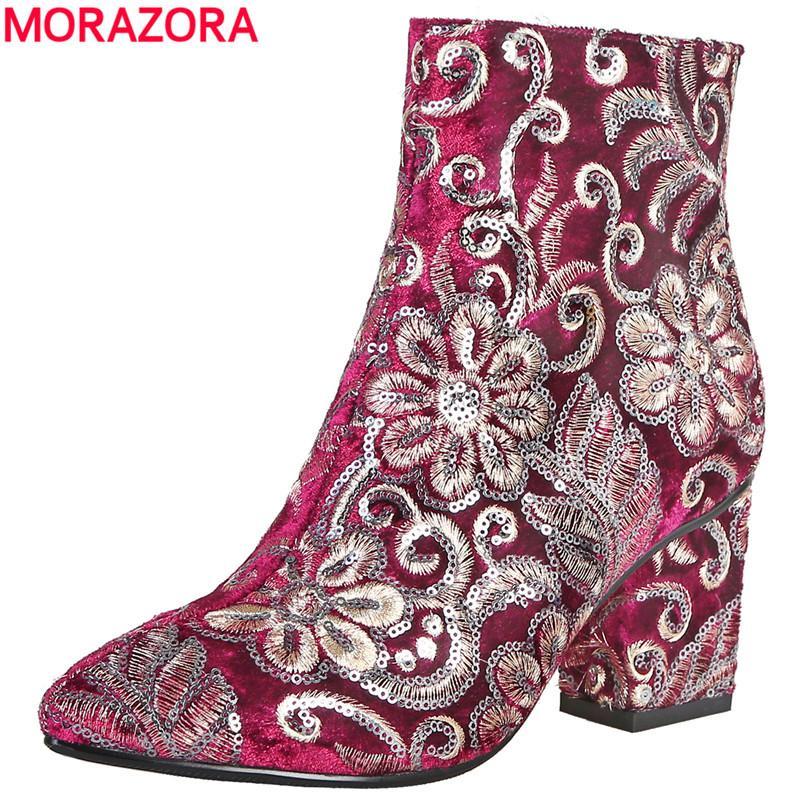 8daad6b18 Compre MORAZORA Alta Calidad Bordado Botas De Mujer Tacones Altos Gruesos  Otoño Invierno Botas Moda Calzado Para Mujer Zapatos Tobillo A  48.8 Del  Abcindy ...