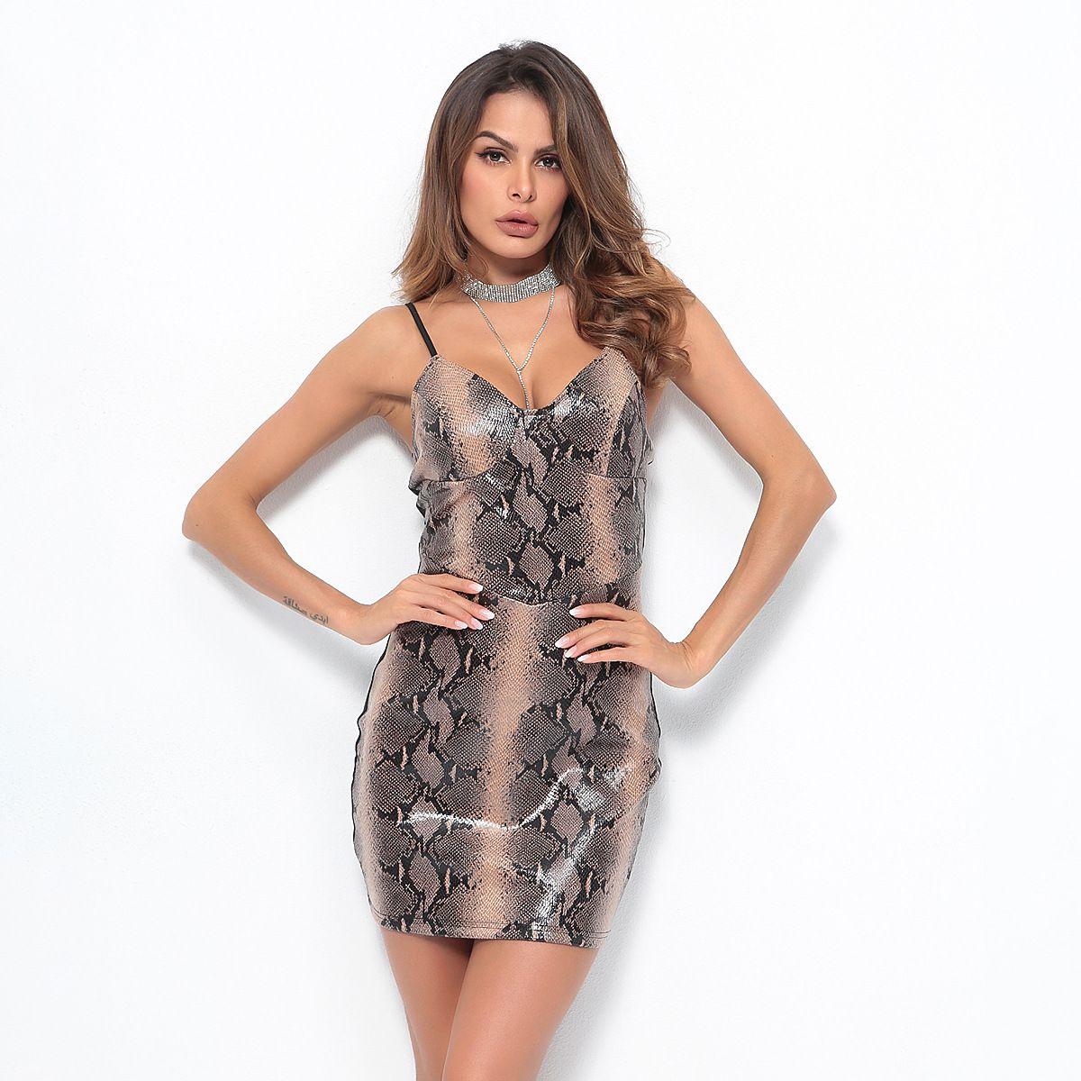 2019 Women Clothing Sleeveless V Neck Spliced Snakeskin Print Bodycon Dress  Female Sexy Fashion Slim Mini Pencil Dresses D5908 Sweater Dresses Lace  Dresses ... bd151d5bb