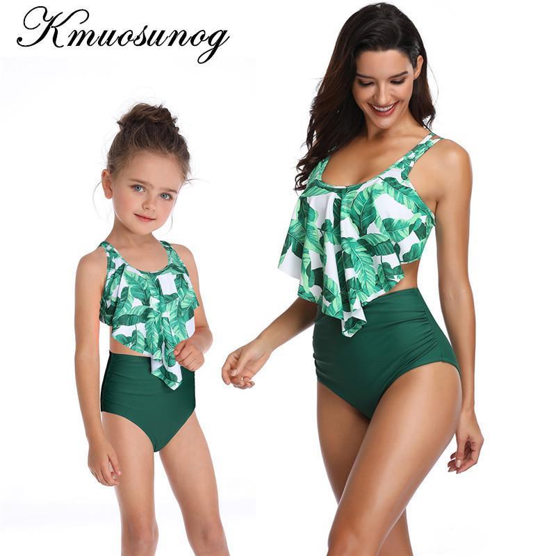 9b3fd605d2 Family Matching Swimwear Green Leaf Print Beachwear Mae E Filha ...