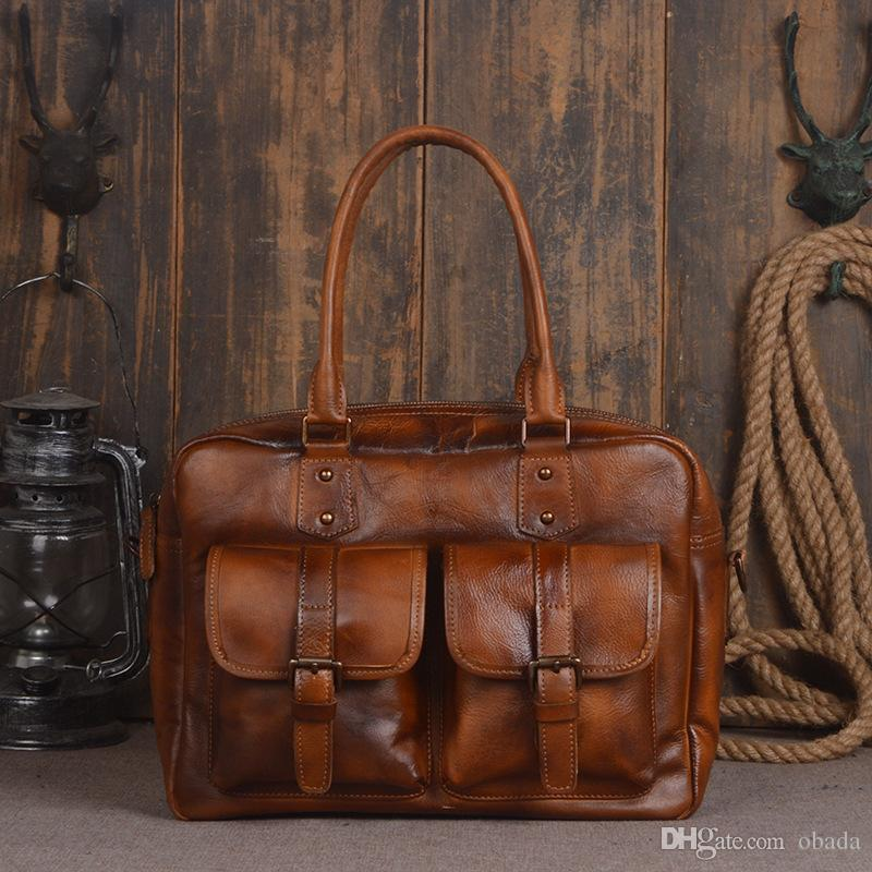 Cross-border special offer for new vegetable tanned cowhide male hand luggage bag handmade twilight single shoulder computer bag.
