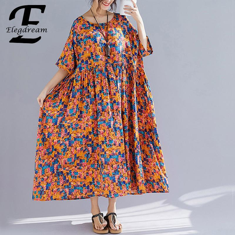 0771fae39699 Elegdream Oversized Casual Women Printed Bohemian Maxi Dress 2019 Summer  Ladies Plus Size Beach Wear Boho Long Dresses Vestidos Cocktail Evening  Dresses ...