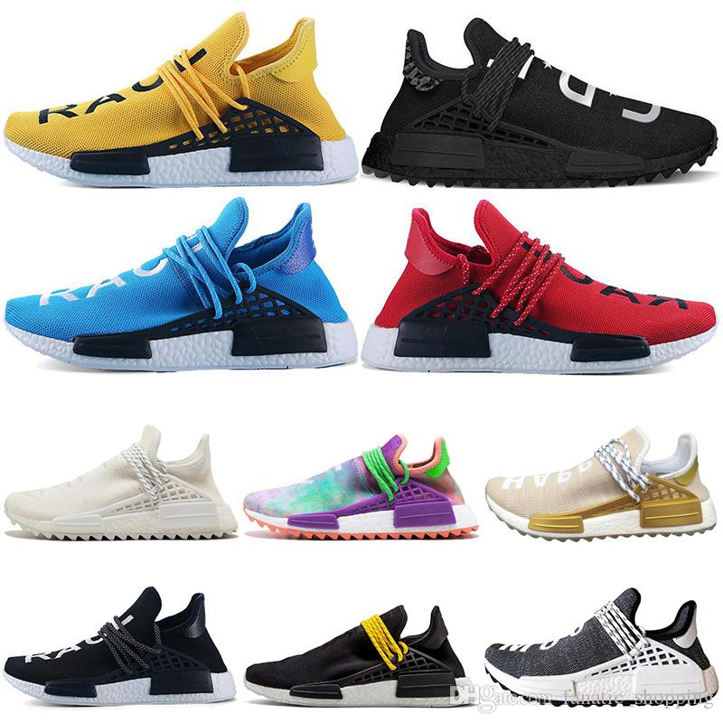 Human Race HU Trail Running Shoes Mens Women Pharrell Williams Runner HAPPY Nerd Equality Cream Yellow Core Black Red Sports Sneakers 36-47