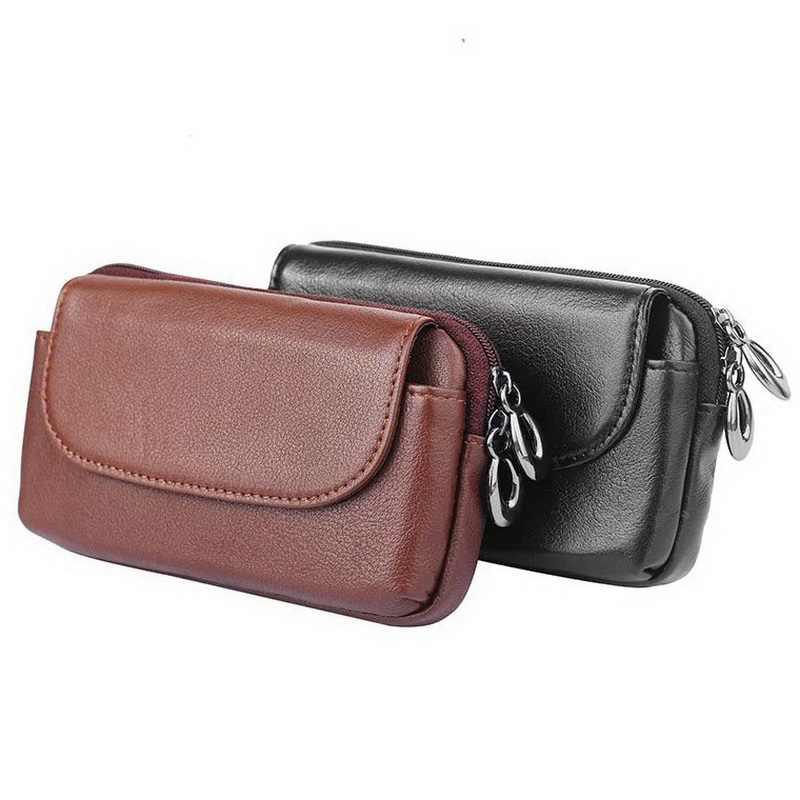 online store e7210 a868e Genuine Leather Universal Phone Pouch For Apple iPhone 8 Belt Clip Holster  Zipper Bags For Iphone 7 Plus 6 Plus Case
