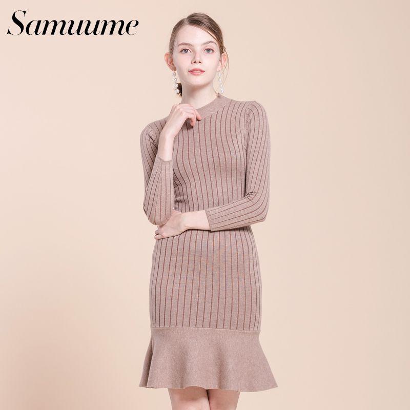 ee2b7c6ecb3 Samuume Elegant Fishtail Warm Women Knit Dress 2017 Natural Waist Long  Sleeve Ruffles Lady Midi Dresses Autumn Vestidos A1709029 D18102901 Online  with ...