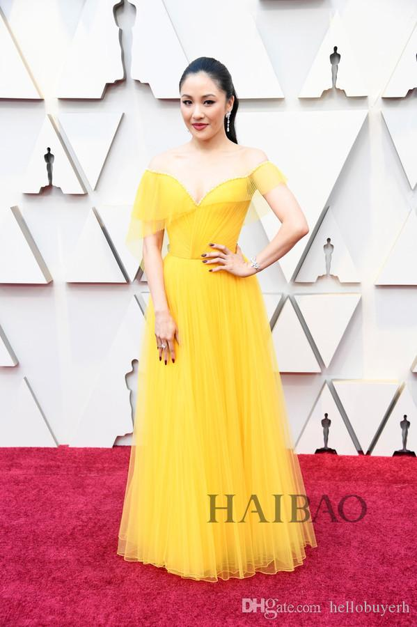 1d93104d25d4 2019 Oscar Film Festival Star Dresses A Line Yellow Tulle Off Shoulder  Elegant Evening Formal Dresses Cheap Red Carpet Celebrity Dresses Trendy  Evening ...