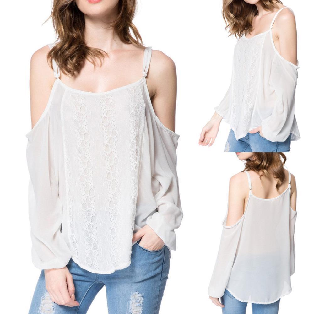 4a913bba2a Compre Moda Para Mujer De Verano 2019 Blusas Fuera Del Hombro Gasa Sin  Espalda Blanca Mangas Largas Encaje Splicing Camisa Blusa Tops  SS A  36.6  Del ...