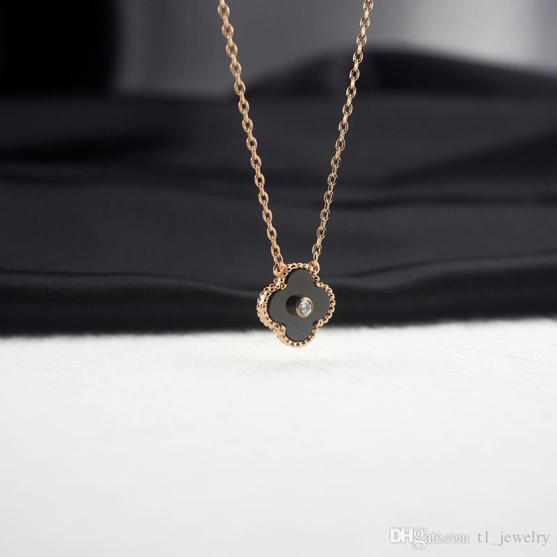 d84087451 Mother of Pearl Woman Rose Gold Necklace Women Diamond clover Necklaces  Charms Valentine's Day Fine Jewelry