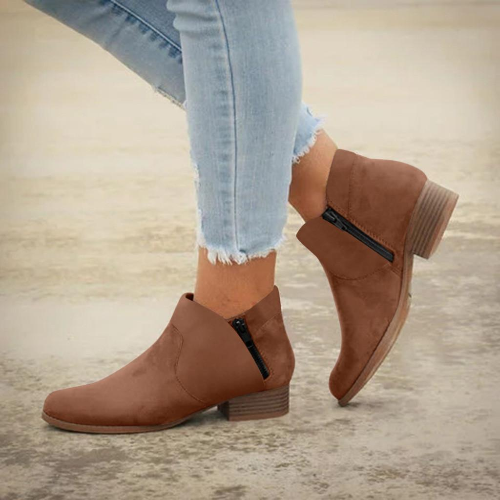 women's shoes Comfortable Round Toe single boots Zipper Slip on ankle boots Low Heels Shoes winter Booties botas de mujer #0813