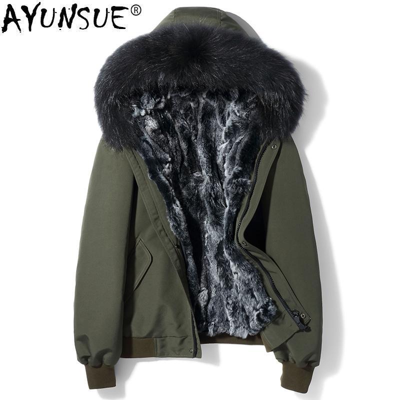 2d8899fe0df 2019 AYUNSUE Mens Fur Coat Parka Real Rex Rabbit Fur Liner Winter Jacket  Men Short Plus Size Raccoon Collar Parkas Hombre KJ1502 From Buttonline