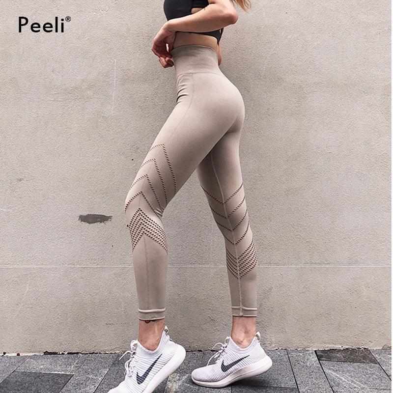 86e3bf3463 2019 Peeli Sexy Push Up Yoga High Waist Women Fitness Gym Pants Train  Energy Seamless Leggings Sports Running Tights Plus Size C19041702 From  Xiao0002, ...