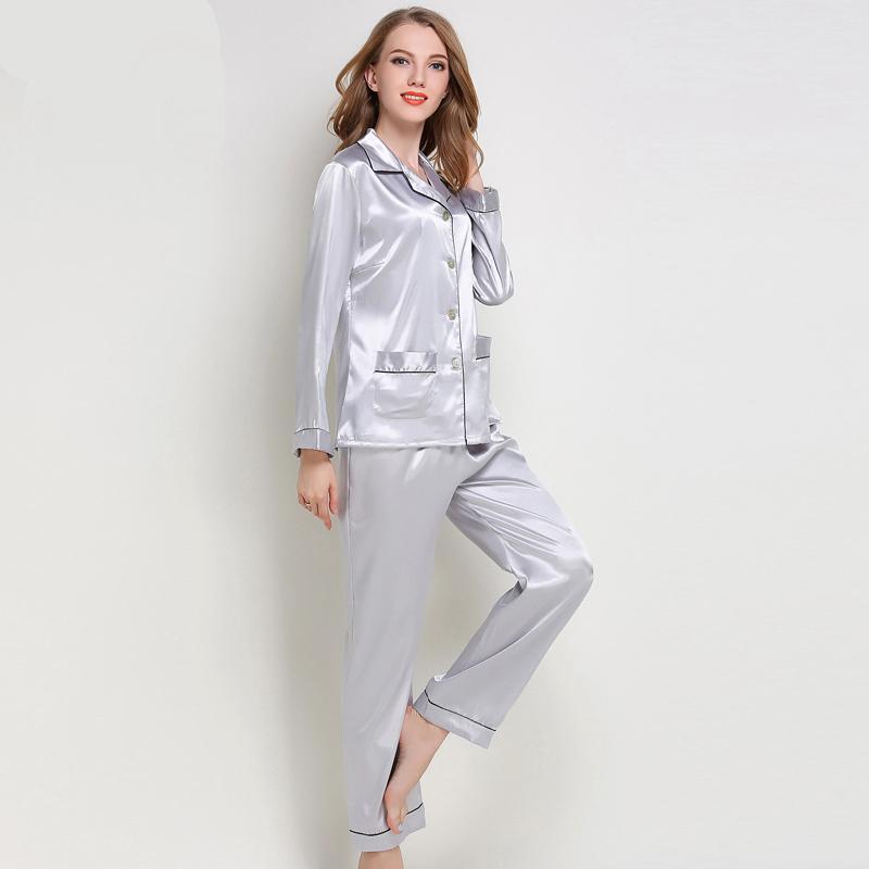 2019 Loungewear Women S Pajamas Set Silk Nightwear Tops + Pants Sexy  Nighties Sleepwear Home Wear Blue Pyjama Femme Winter From Zijinflo 90d0b2b9b