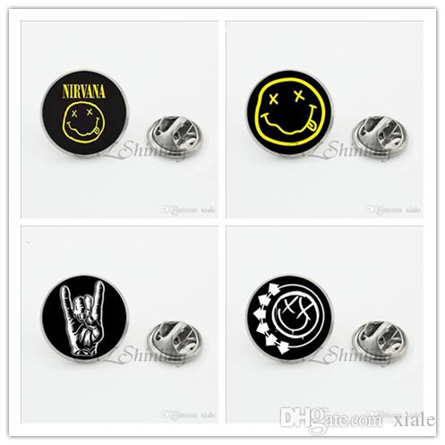 New Nirvana Smile Face Butterfly Silver Jewelry My Chemical Romance Lapel Pins Steampunk Rock Band Shirt Collar Pin Men LP-0064