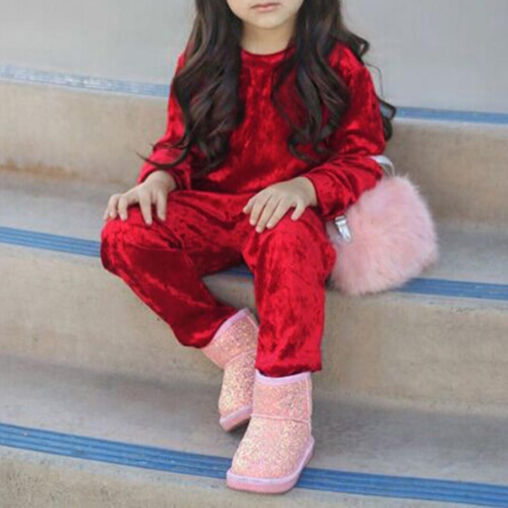 2d8833ac15549 Satın Al Kızlar Için Kaliteli Giysiler Çocuklar Bebek Giyim Seti 2 Adet  Uzun Kollu Katı Tops + Pantolon Kıyafetler Set Giysi Vetement Enfant Fille,  ...