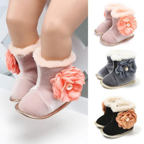 Newborn Infant Baby Girl Big Flower Snow Boots Winter Warm Plush Booties Toddler Soft Sole Shoes Suitable For 0-18 Months
