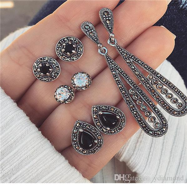 2019 hot style European and American accessories wish new Bohemian black diamond long vintage zircon 4 pairs of earring set combination