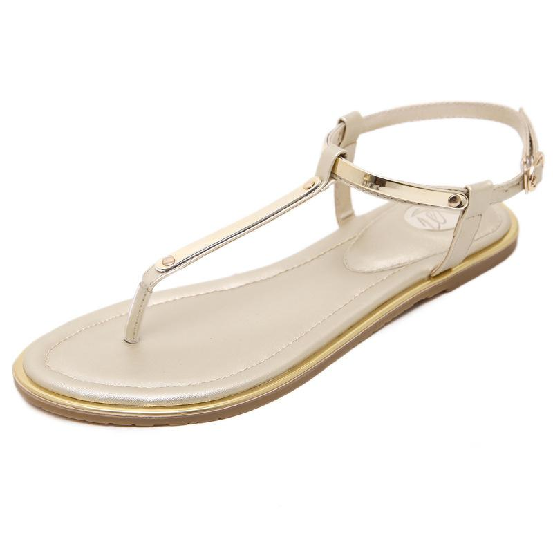 695df0973 New 2019 Women Sandals Sexy Thin Belt Flat Sandals For Women Summer Gold  Sandals With T Strap Sandalias Mujer Size 34 43 M764 Gold Wedges Red Wedges  From ...
