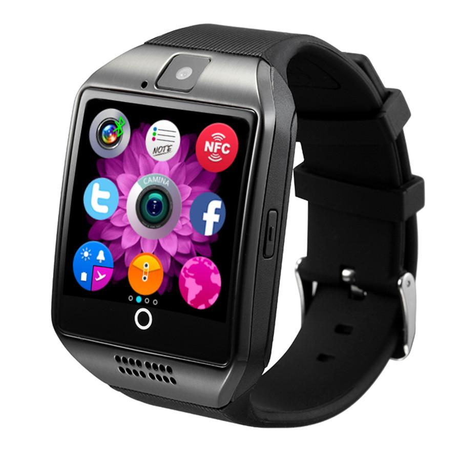 Q18 curved color screen smart watch SIM card call photo Bluetooth sleep monitoring sports step calls long-stay reminder FOR: IPHONE Samsung
