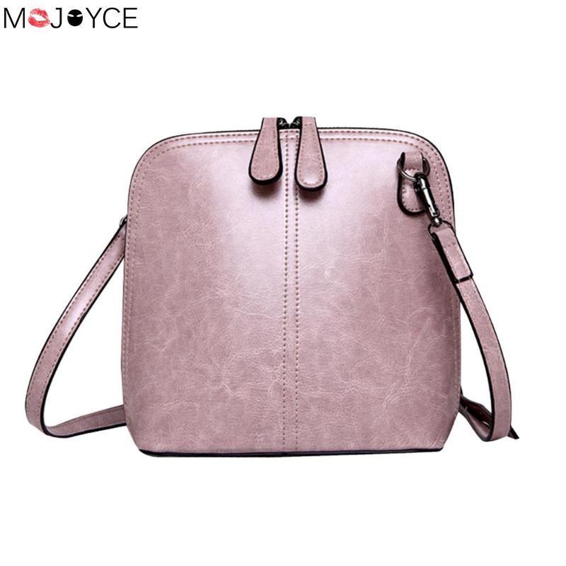 Vintage Pure Women Shell Casual Sling Handbags Crossbody PU Leather  Messenger Simple Retro Style Female Shoulder Bags Luxury Bags Handbags  Wholesale From ... c52eeac316ea8