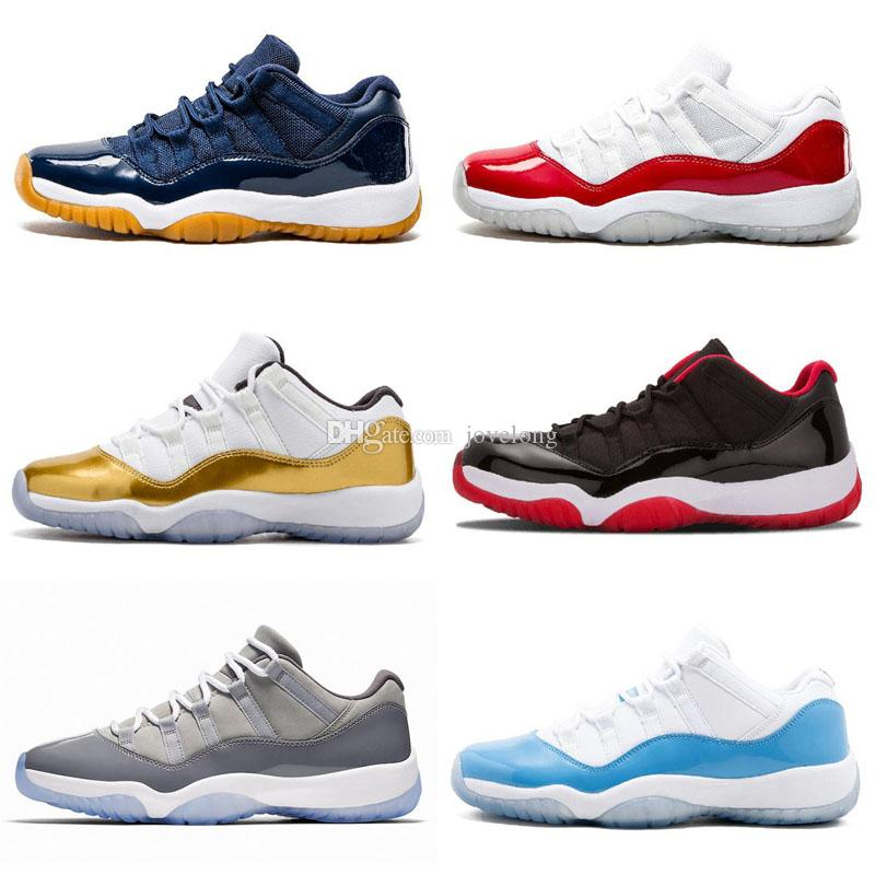 dd95a8cee5b Jumpman 11 Low White Red Navy Gum Basketball Shoes Bred Georgetown Space  Jam Citrus GS Basketball Sneakers Women Men Kids 11s Low XI Sneakers Boys  Extra ...