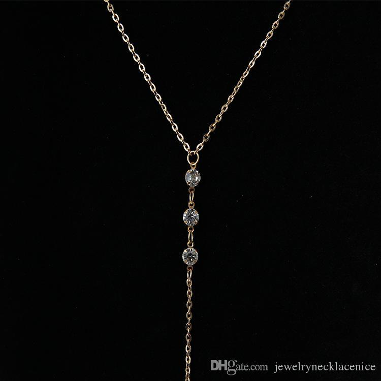 Crystal Back Chain Necklace Sexy Women Lady Girls Bikini Beach Crossover Back Jewelry Wedding Back Dress Accessories Cheap Wholesale