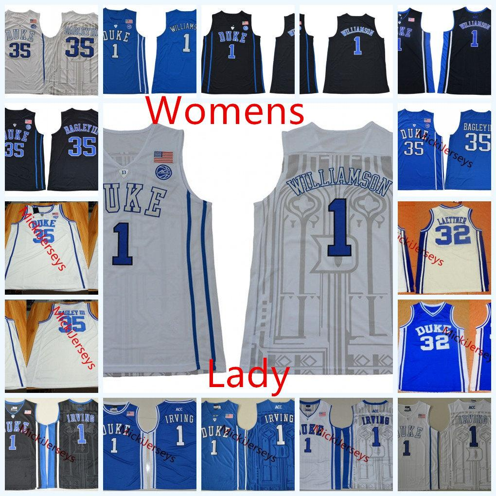 competitive price 8fbf0 77271 Womens NCAA Duke Blue Devils Kyrie Irving Basketball Jersey Lady 32  Christian Laettner 1 Zion Williamson 35 Marvin Bagley III Duke Jerseys