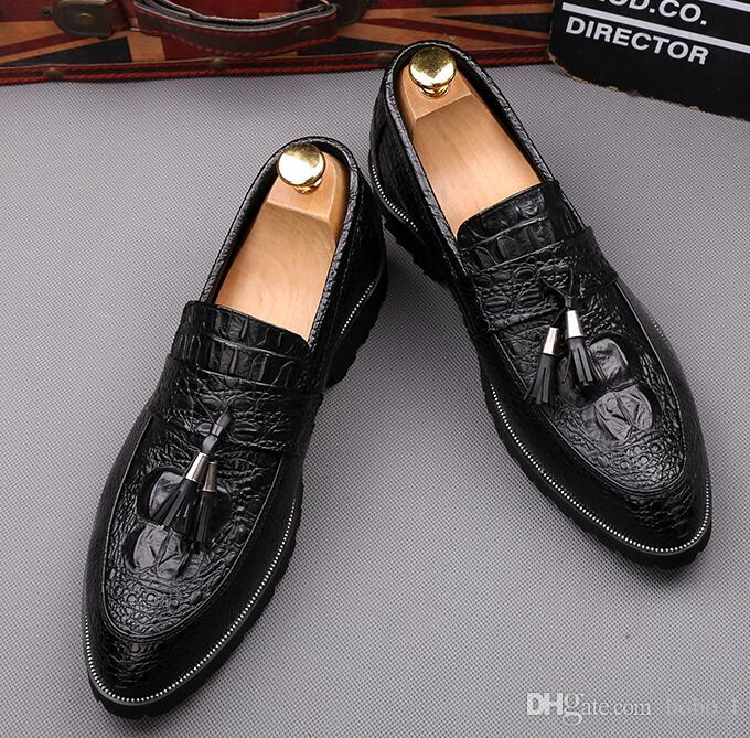 f3dafa962ea5c8 Spring Autumn Men Black Derby Shoes Crocodile Print Genuine Leather Lace Up  Male Dress Shoes For Office Wedding Party Size 39 44 Wedge Shoes Casual  Shoes ...