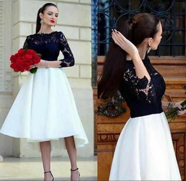 20833344536d Black And White Short Prom Dresses For Graduations Long Sleeve Tea Length Cocktail  Dress 2019 Elegant Arabic Lace Party Gowns Short Prom Dress 2015 Summer ...