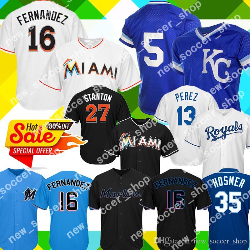 info for e1c69 9eea8 Miami 16 Jose Fernandez Marlins Jersey 27 Giancarlo Stanton Kansas City 13  Salvador Perez Royals 35 Eric Hosmer 16 Bo Jackson 5 Brett
