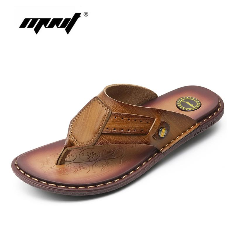 80c6ad27d480 Cow Leather Beach Men Slippers Flip Flops With Soft Sole Trendy Breathable  Men Summer Shoes Fashion Beach Sandals Shoes Wedges Shoes Leather Boots From  ...