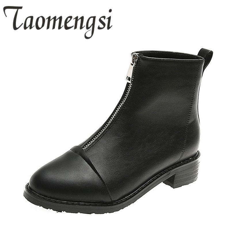 d3160230474 2019 Spring Boots Woman Big Size Shoes 41 42 43 Casual Womens Boots Zipper  Black Ankle For Women Microfiber Autumn Shoes Mens Boots Thigh High Boots  From ...