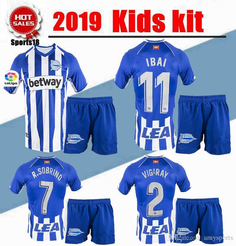 8b71b2f0406 2019 2019 Kids Kit Deportivo Alavés Boy Uniforms Children Soccer Sets IBAI  BURGUI SOBRINO LAGUARDIA Munir Youth Soccer Jersey From Amysports