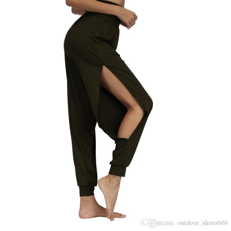 b7c6a01ebe5df Vertvie New Women Fitness Yoga Pants Quick Drying Sports Pant Women's Side  Slit Wide Leg Solid Soft Elastic Waistband Yoga Pants #286055