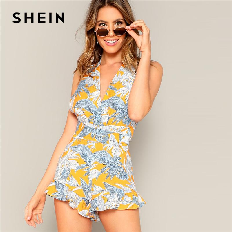 b236744986 2019 SHEIN Boho Crisscross Open Back Jungle Leaf Print Ruffle Rompers Womens  Playsuit Summer Sleeveless Casual Sexy Beach Playsuits From Derricky, ...