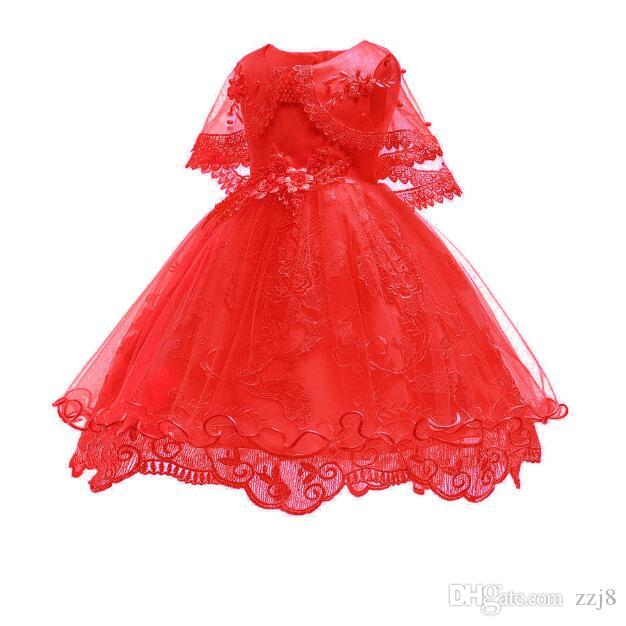 New Arrival Lace Dresses for Kids Red Shawls Style Beaded Flower Mesh Dress 3-10 Baby Girl Clothes