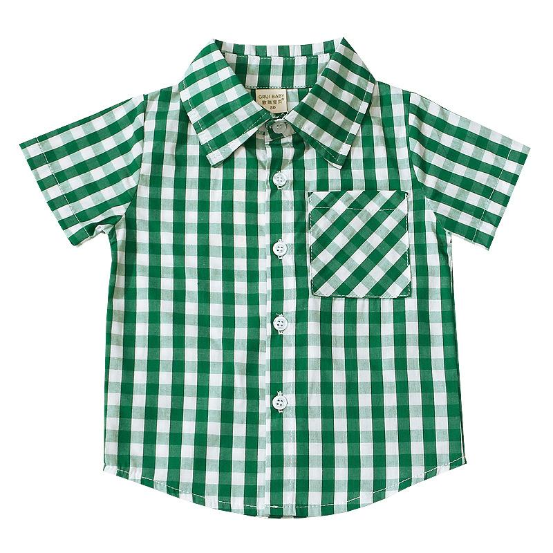 bbef0ff9d Boys Plaid Shirt Summer Kids Lapel Short Sleeve Cotton Tops Enland Style  Children Lattice Casual Shirt Boys Pocket Casual Shirt Y1284 Boys Long  Sleeve T ...