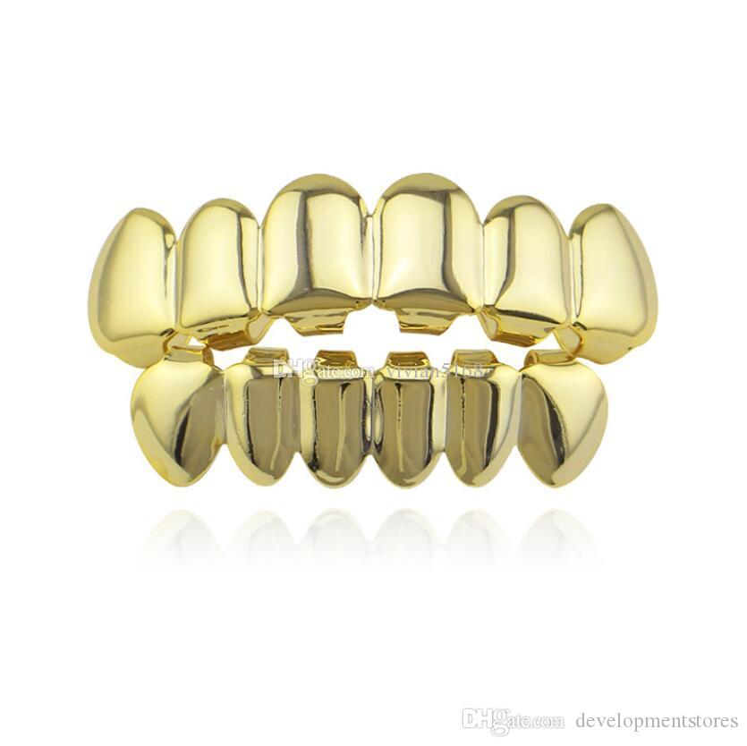 Hip Hop Personality Fangs Teeth Gold Silver Rose Gold Teeth Grillz Gold False Teeth Sets Vampire Grills For women&men Dental Grills Jewelry