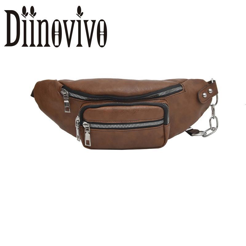 063f0b526f0d Diinovivo Fashion Women Belt Bag Waterproof Chain Waist Bag PU Leather Fanny  Female Crossbody Bags Chest Handbag DNV0949 Drawstring Bags Rolling Backpack  ...