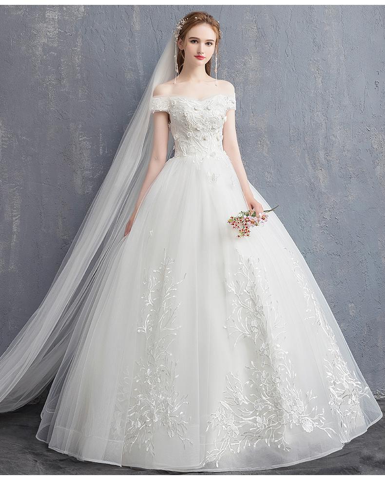 compre cuello de barco vestidos de novia decoración de flores