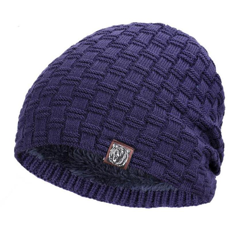 a9cd6a7da98 2019 Solid Blue Winter Warm Wool Knitted Cap Earmuffs Hat Women And Men Warm  Beanies Hats Casual Adult Cover Head Outdoor Hats From Shinny33