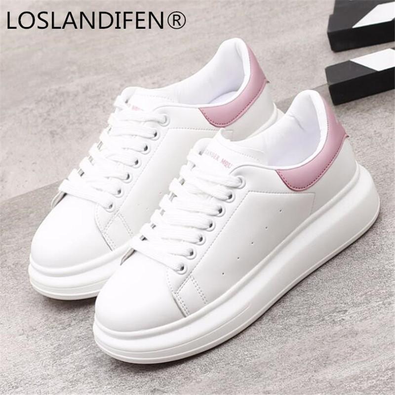 2878fe4f6dd3 Acquista 2018 Spring New Designer Zeppe Scarpe Bianche Piattaforma  Femminile Sneakers Donna Tenis Feminino Scarpe Donna Casual Vulcanize Donna  A $60.52 Dal ...