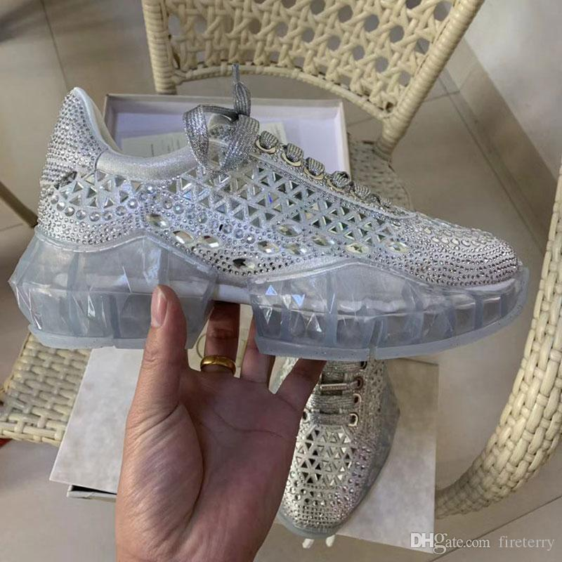 aae0d7432f0b Diamond Designer Shoes Crystal New Fashion Women Casual With Shimmer Suede  Trainers With Crystal Application And Chunky Platform Size 35 40 Work Shoes  ...