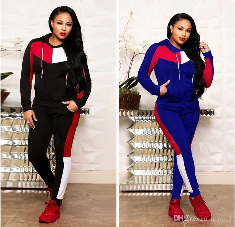 34950091b665 Diseñador de la marca con capucha de las mujeres conjunto de dos piezas de  bordado chándal top leggings trajes sudadera ropa deportiva pantalón ...