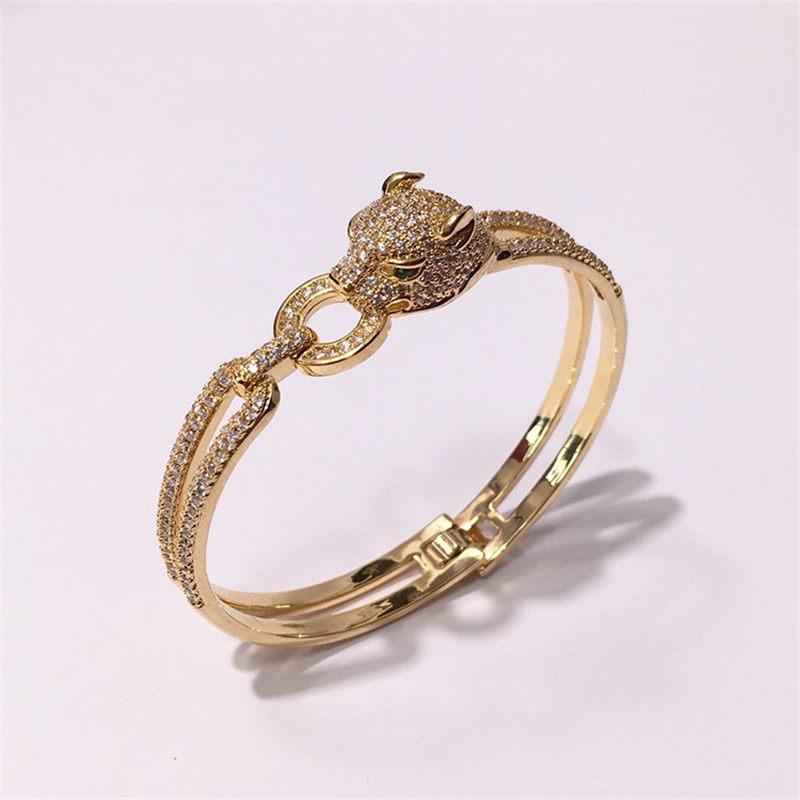 Fashion Hiphop Animali Bracciali Hot Fashion Design Cheetah Bangles Donna Luxury Rose Gold Bracciale placcato in argento gioiello regalo per feste