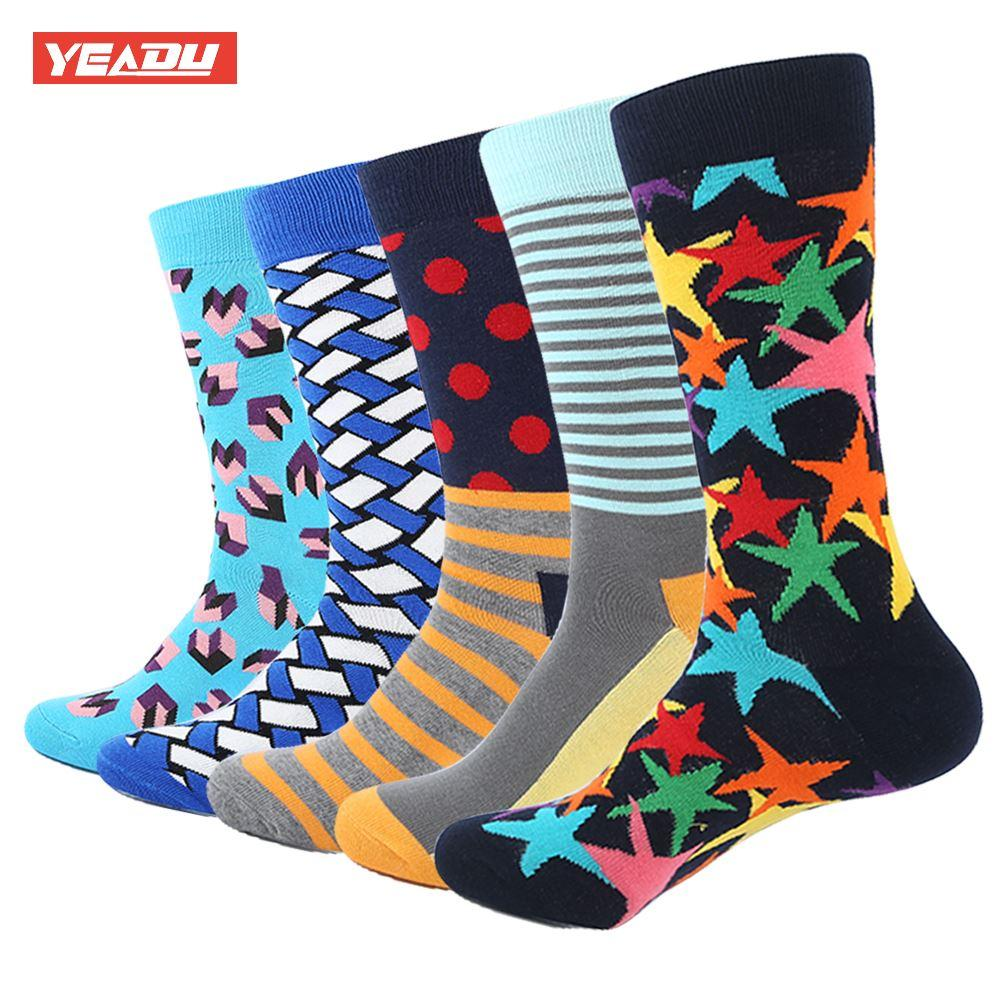 0f5cf57b8852 YEADU Combed Cotton Socks Multi Colorful Funny Pattern Casual Socks ...