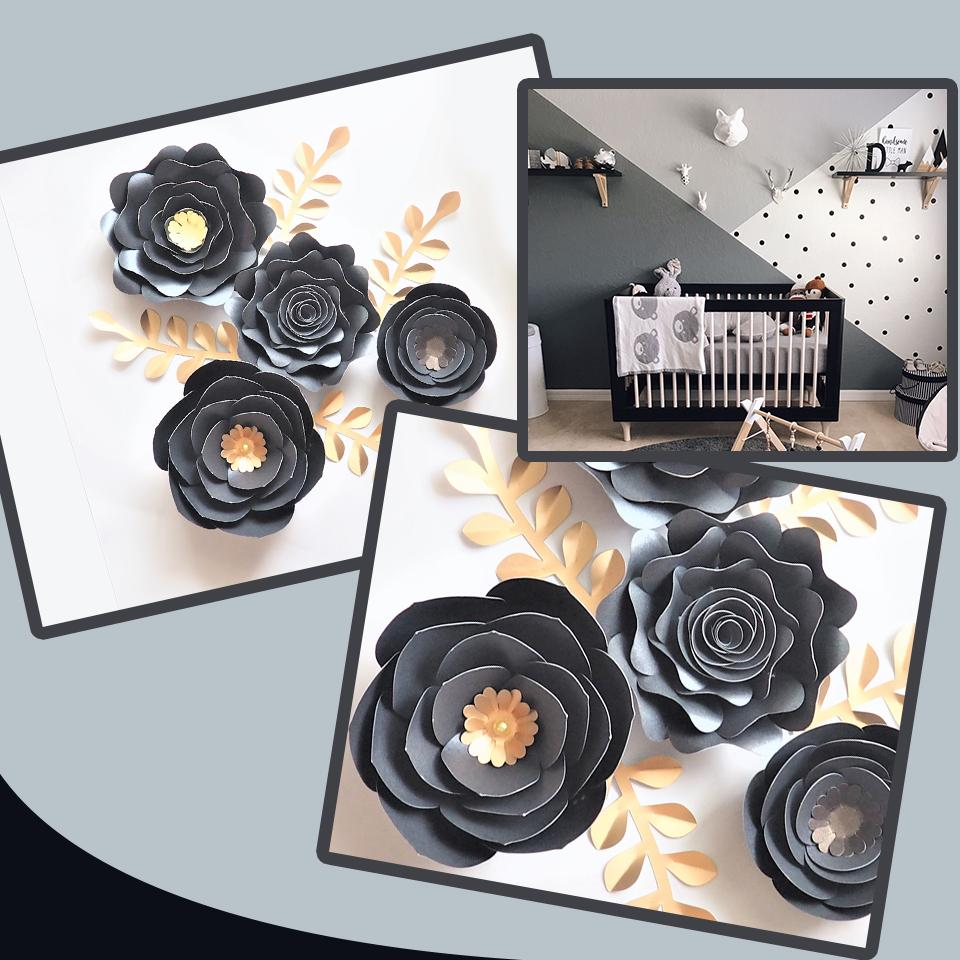 Black Gold Rose DIY Paper Flowers Leaves Set For Nursery Wall Deco Boys Room Living Room Decoration Baby Shower Video Tutorials