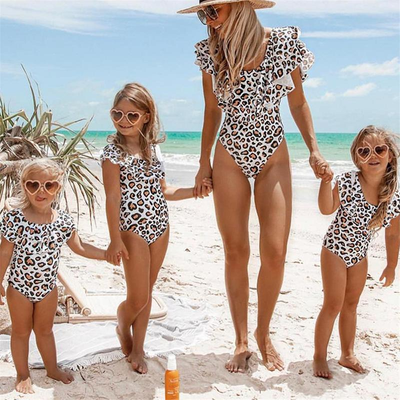 2019 Ruffle Leopard Mom Daughter Swimwear Family Look Mother And Daughter Swimsuit Mommy And Me Bikini Family Matching Clothes Y19051103
