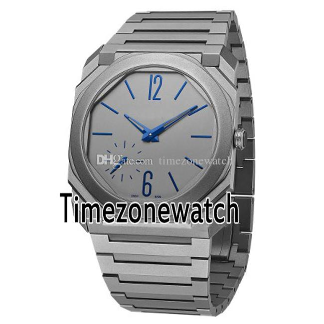best service 482fa d30c3 New OTCO BGO40C14TTXTAUTO/L 102945 42mm Titanium Steel Gray Dial Blue Mark  Automatic Mens Watch Stainless Steel Watches Timezonewatch E13a1