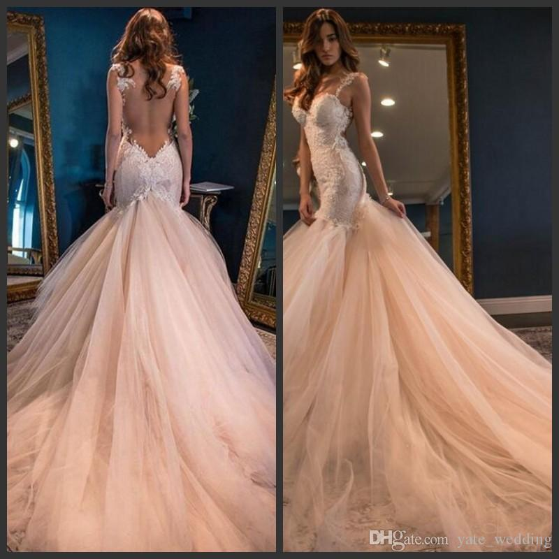 2019 Fashion Luxury Mermaid Wedding Dresses Sexy Sweetheart Open Back Lace Appliques Bridal Gowns Tulle Tiered Skirts Formal Wedding Dresses